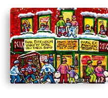 MONTREAL PARK EXTENSION DEPANNEUR WINTER HOCKEY SCENE PAINTING Canvas Print