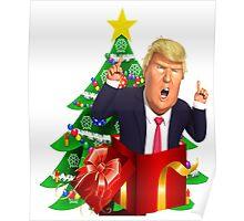 Funny Donald Trump Christmas Present Tree Holiday Nasty Women Deplorables Gag Gift Republican Democrat 2016 Election President  Poster