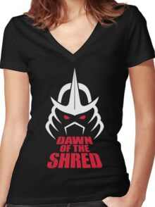 Dawn of the Shred Women's Fitted V-Neck T-Shirt