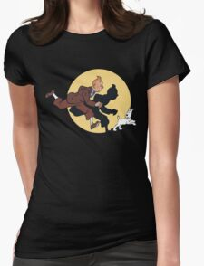 Tin tin & Snowy Womens Fitted T-Shirt
