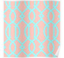Trellis,modern,trendy,pattern,girly,turqouise,peach Poster