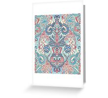 Botanical Geometry - nature pattern in red, blue & cream Greeting Card