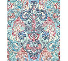 Botanical Geometry - nature pattern in red, blue & cream Photographic Print