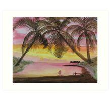 Lover's At Sunset Art Print