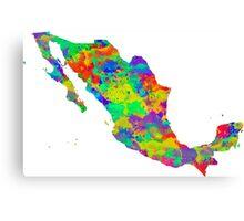 Mexico Watercolor Map Canvas Print