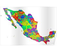Mexico Watercolor Map Poster