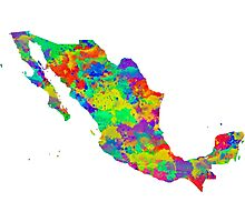 Mexico Watercolor Map Photographic Print