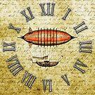 Vintage Steampunk Clock No.7, Elegant Vintage Steampunk Airship by Steve Crompton