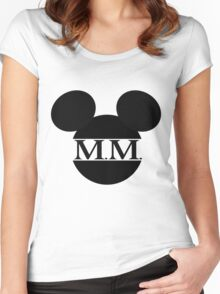 Mouse Initials Silhouette Design Women's Fitted Scoop T-Shirt