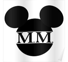 Mouse Initials Silhouette Design Poster