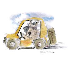 Stew and Nigel in the yellow car by valeria moldovan