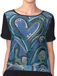 Blue Graffiti Chiffon Top