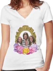 Bee Gees framed with flowers Women's Fitted V-Neck T-Shirt
