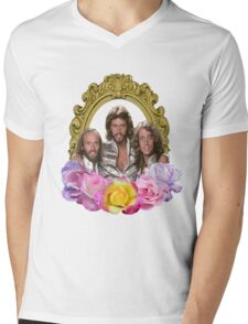 Bee Gees framed with flowers Mens V-Neck T-Shirt