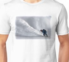 Dare Devil Snowboarder Carves Down Large Mountain In Fresh Powder Unisex T-Shirt