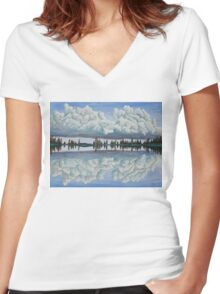 Clouds Reflection Women's Fitted V-Neck T-Shirt