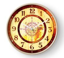 063 Wall Clock Wood with Iron with engraved Lighthouse Clock