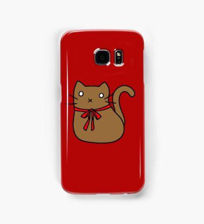 Red Ribbon Tie Brown Cat Samsung Galaxy Case/Skin