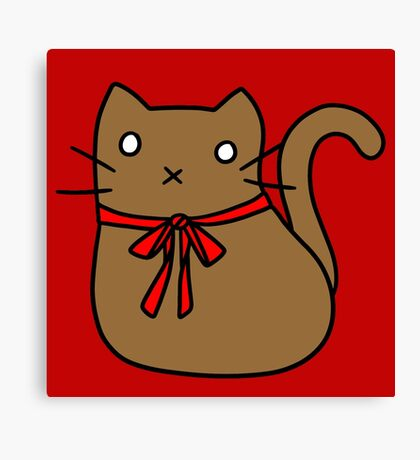 Red Ribbon Tie Brown Cat Canvas Print