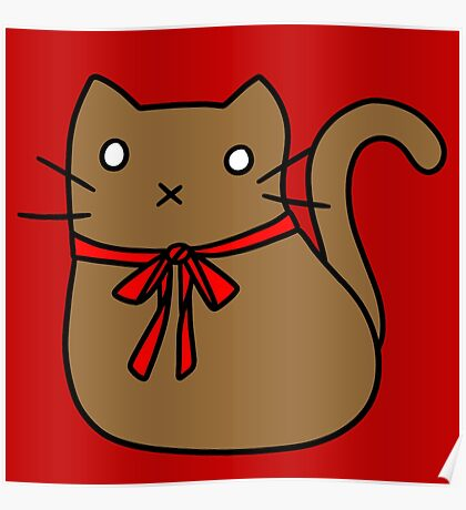 Red Ribbon Tie Brown Cat Poster