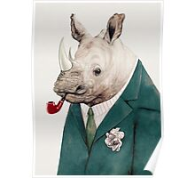Green Suited Rhinoceros Poster