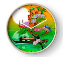 065 Wall Clock Japanese boat and flowers Clock