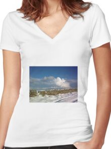 holy island in the xmas snow Women's Fitted V-Neck T-Shirt