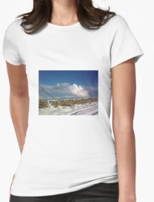 holy island in the xmas snow Womens Fitted T-Shirt