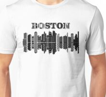 City of Boston - Skyline View In Black and White Sketch Design Unisex T-Shirt