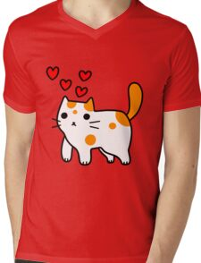 Spotted Kitty in Love Mens V-Neck T-Shirt