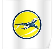 Commercial Jet Plane Airline Circle Retro Poster