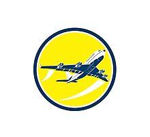 Commercial Jet Plane Airline Circle Retro Photographic Print