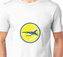 Commercial Jet Plane Airline Circle Retro Unisex T-Shirt