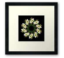 White flowers mandala Framed Print