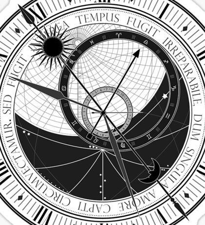 Trippy Vintage Retro Astrology Clock Black and White Design Sticker