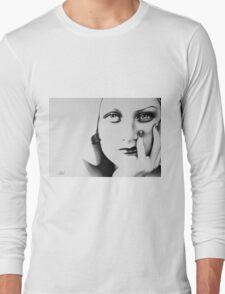 Joan Crawford Minimal Portrait Long Sleeve T-Shirt