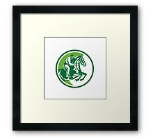 Equestrian Show Jumping Side Circle Retro Framed Print