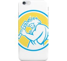 Zeus Wielding Thunderbolt Circle Retro iPhone Case/Skin