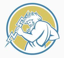 Zeus Wielding Thunderbolt Circle Retro T-Shirt