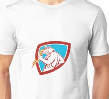 Zeus Wielding Thunderbolt Shield Retro Unisex T-Shirt