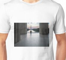 Sunrise watcher from atop the stairs of the Lincoln Memorial  Unisex T-Shirt