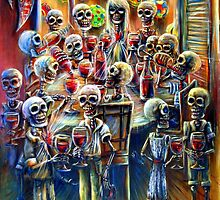 Skeleton Wine Party by HCalderonArt