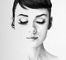 Audrey Hepburn Minimal Portrait by IleanaHunterArt