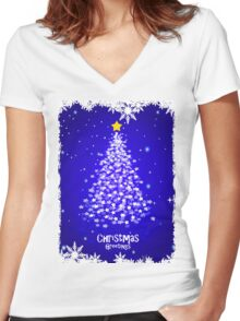 CHRISTMAS TREE with STAR Women's Fitted V-Neck T-Shirt