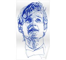 Eleven In Tardis Blue  Poster