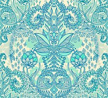 Botanical Geometry - nature pattern in blue, mint green & cream by micklyn