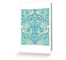 Botanical Geometry - nature pattern in blue, mint green & cream Greeting Card