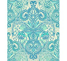 Botanical Geometry - nature pattern in blue, mint green & cream Photographic Print