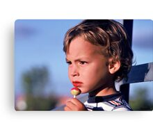 Focussed on the Baseball Game Canvas Print