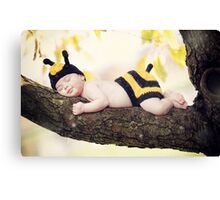 New born baby girl dressed as a bee. Canvas Print
